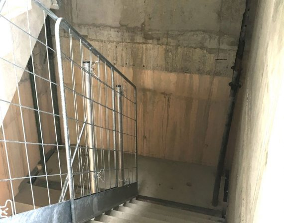 stair barrier in action on a construction site